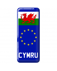 3D Domed Gel Resin CYMRU Number Plate Sticker Decal Badge with Flag EU Euro Stars