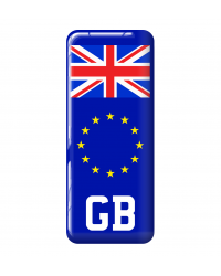 3D Domed Gel Resin GB Number Plate Sticker Decal Badge with Flag EU Euro Stars