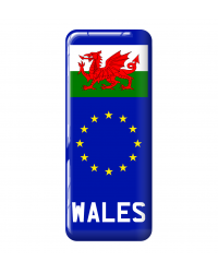 3D Domed Gel Resin WALES CYMRU Number Plate Sticker Decal Badge with Flag EU Euro Stars